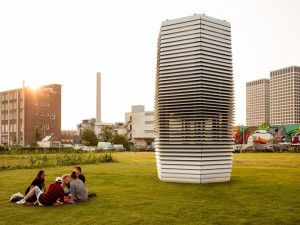 Standing 23ft high, it filters dirty air from the surrounding environment and returns bubbles of clean air through its vents.