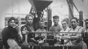 Workers at the original brewery.